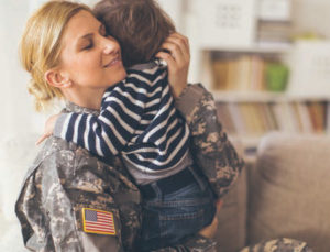 Female Soldier and Child